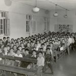Male students in the assembly hall of the Alberni Indian Residential School, 1960s. United Church Archives, Toronto, from Mission to Partnership Collection.