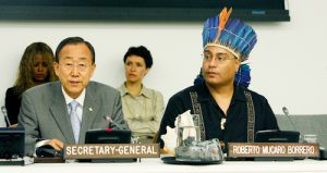 Secretary-General Ban Ki-Moon and Roberto Borrero, Chair of the NGO Committee on the International Day of the World's Indigenous People, 2010. Photo by Evan Schneider. (c) 2010 UNPFII. Photo used with permission from UNPFII.